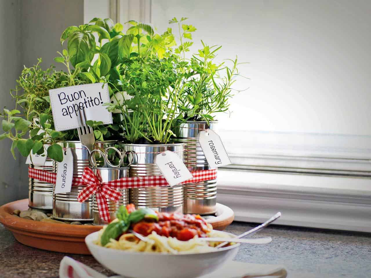 Upcycled Tin Cans Into Kitchen Countertop Herb Garden - flowers-plants-planters