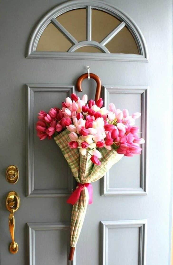 Umbrella Wreath (To Celebrate April Showers) 1 - Garden Decor - 1001 Gardens