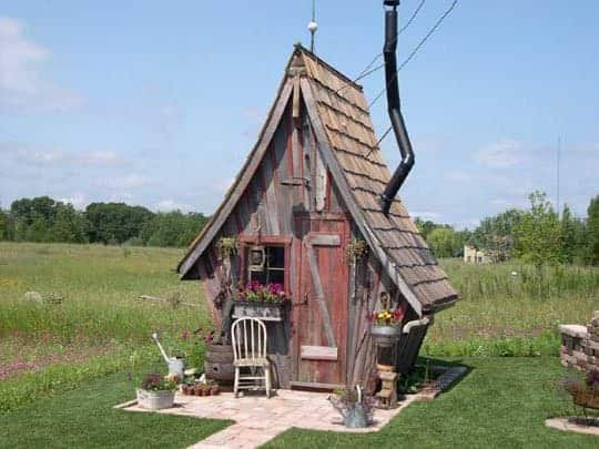 The rustic way whimsical huts built with reclaimed wood for Garden hut sale