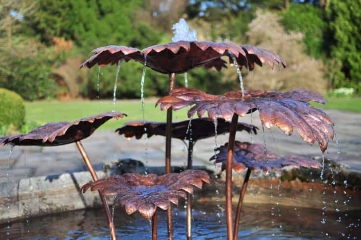 Design Copper Fountain In Cumbria Landscape by David Freedman Landscapes