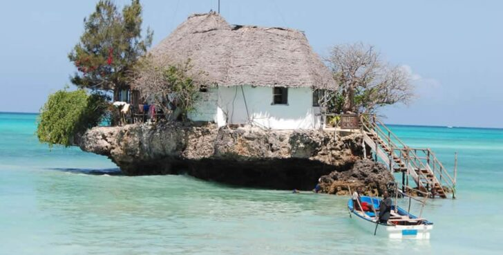 The Rock: A Restaurant Perched On a Zanzibar Rock - sheds-huts-treehouses