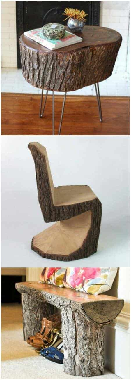 15 Tree Log Ideas for Your Garden 43 - Patio & Outdoor Furniture