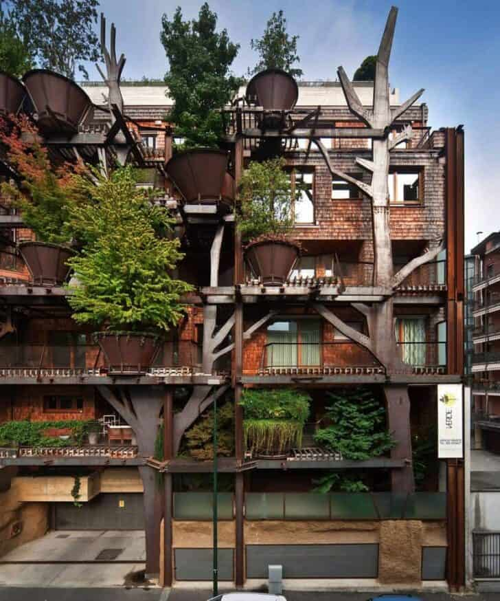 Urban Vertical Botanical Design Forest In Torino - landscaping, flowers-plants-planters