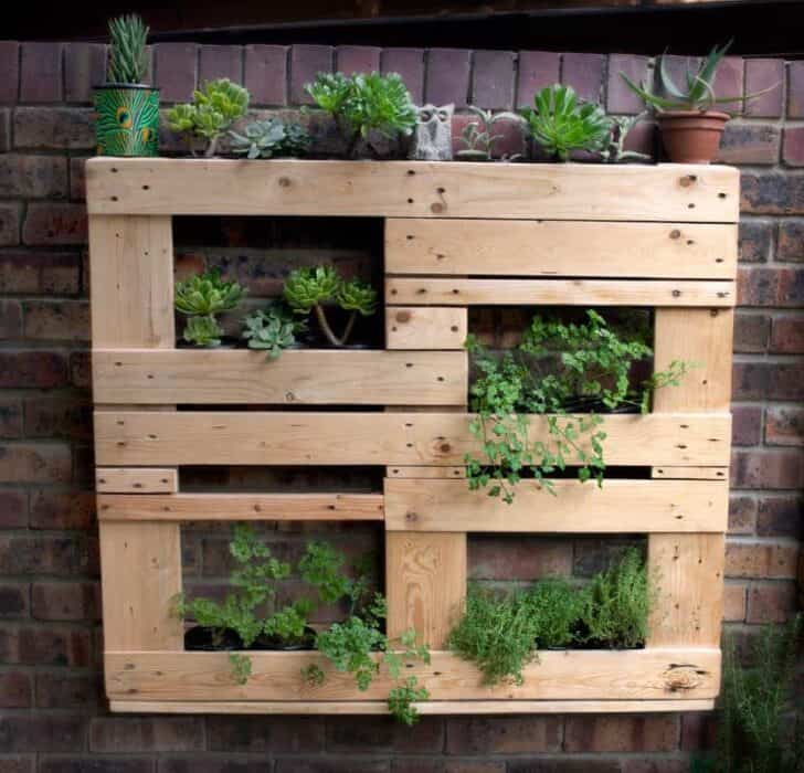 Unstructured Pallet Vertical Garden - garden-pallet-projects-ideas, flowers-plants-planters