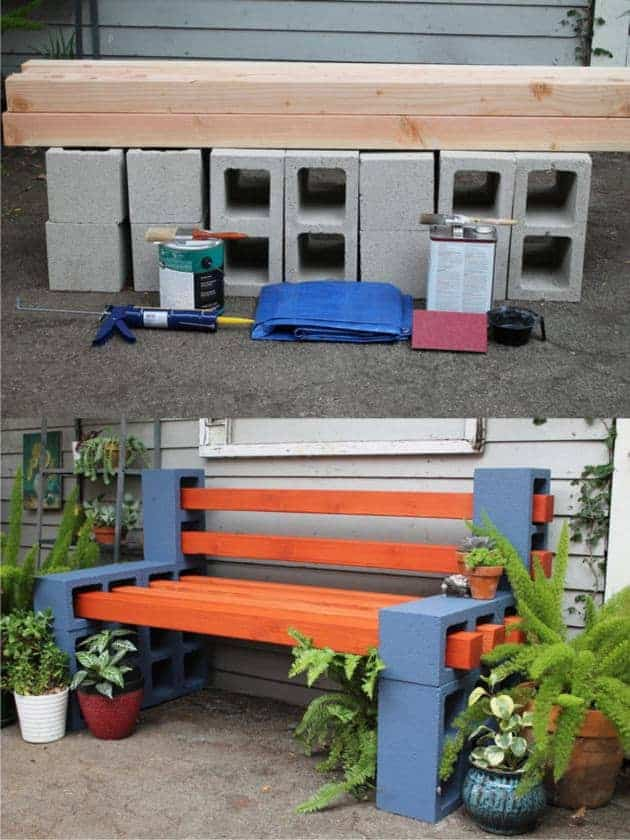 Diy outdoor bench from concrete blocks wooden slats for Banca de madera para jardin