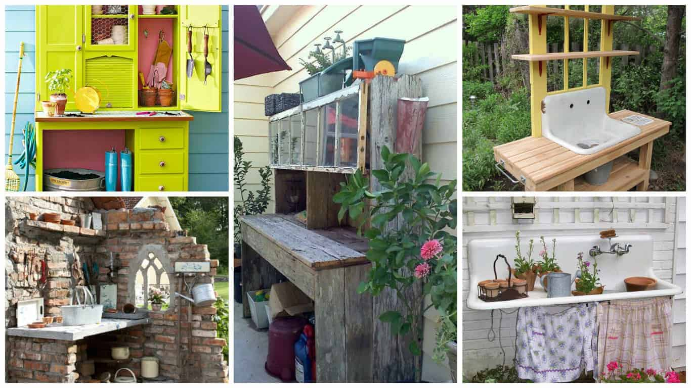 5 Repurposed Potting Benches for All Styles - flowers-plants-planters
