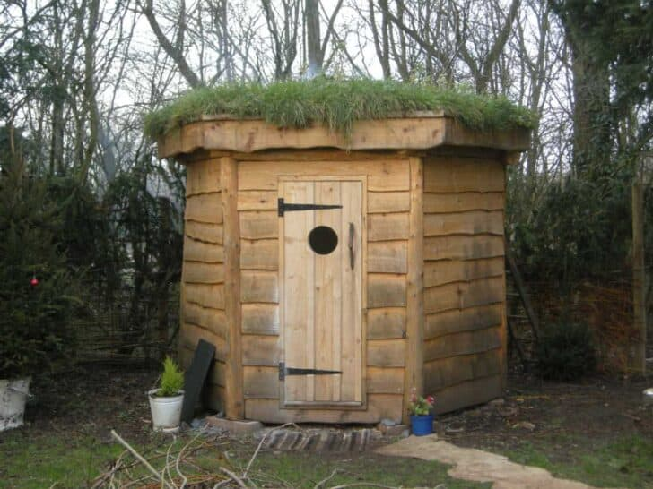 Hexagonal Timber Frame Sauna With Green Roof Sheds, Huts & Tree Houses