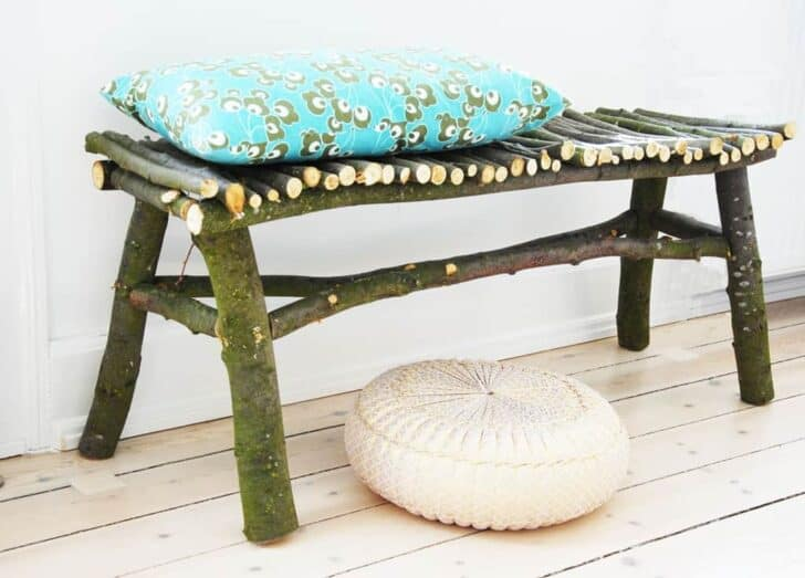 Diy How To Make A Twig Bench 1001 Gardens