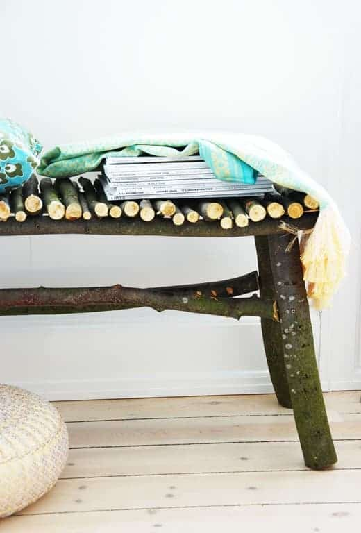 Diy : How to Make a Twig Bench - patio-outdoor-furniture