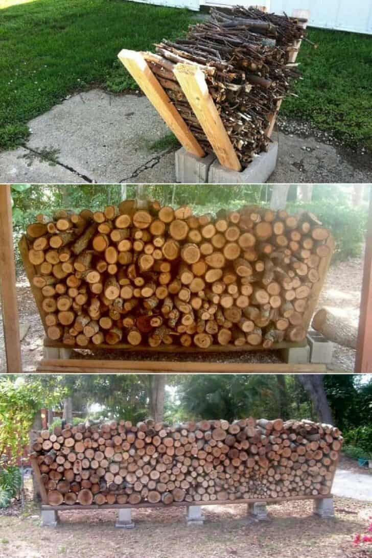 Easy Outdoor DIY Firewood Rack from Cinder Blocks