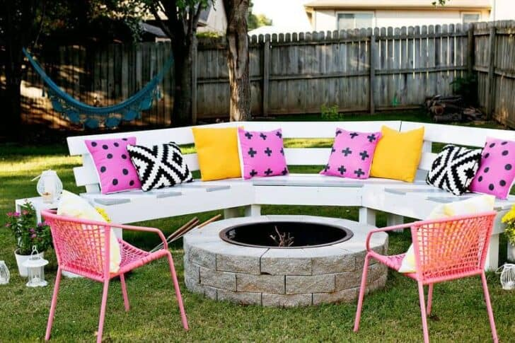 DIY: Circle Bench Around Your Fire Pit   Patio Outdoor Furniture, Grills