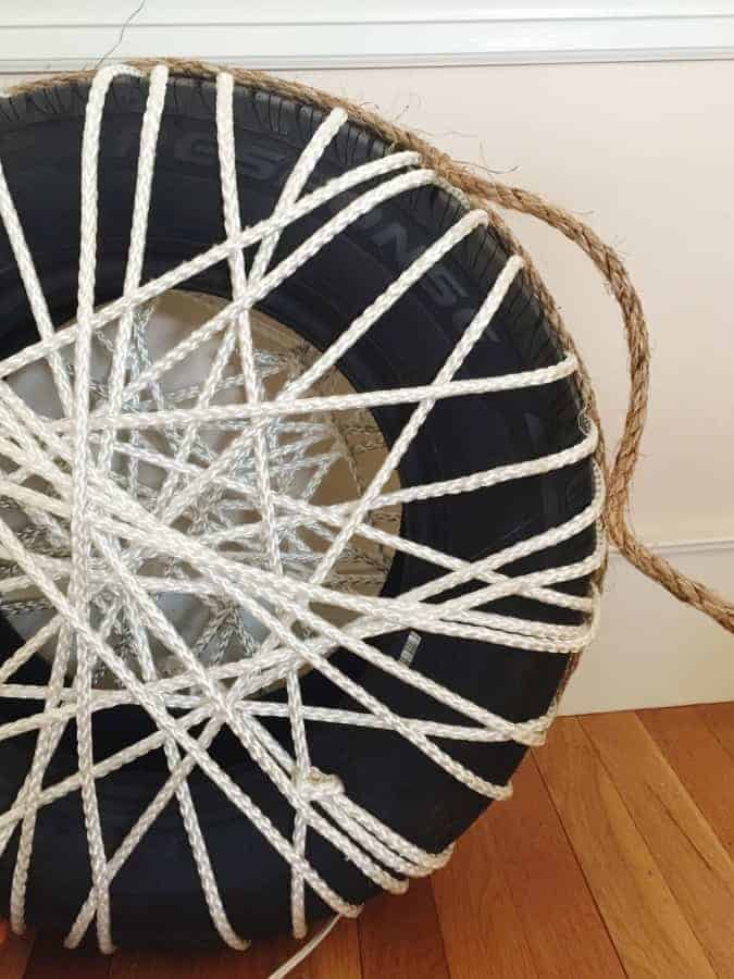 Diy Make a Rope Ottomans Chair with Old Tire - patio-outdoor-furniture