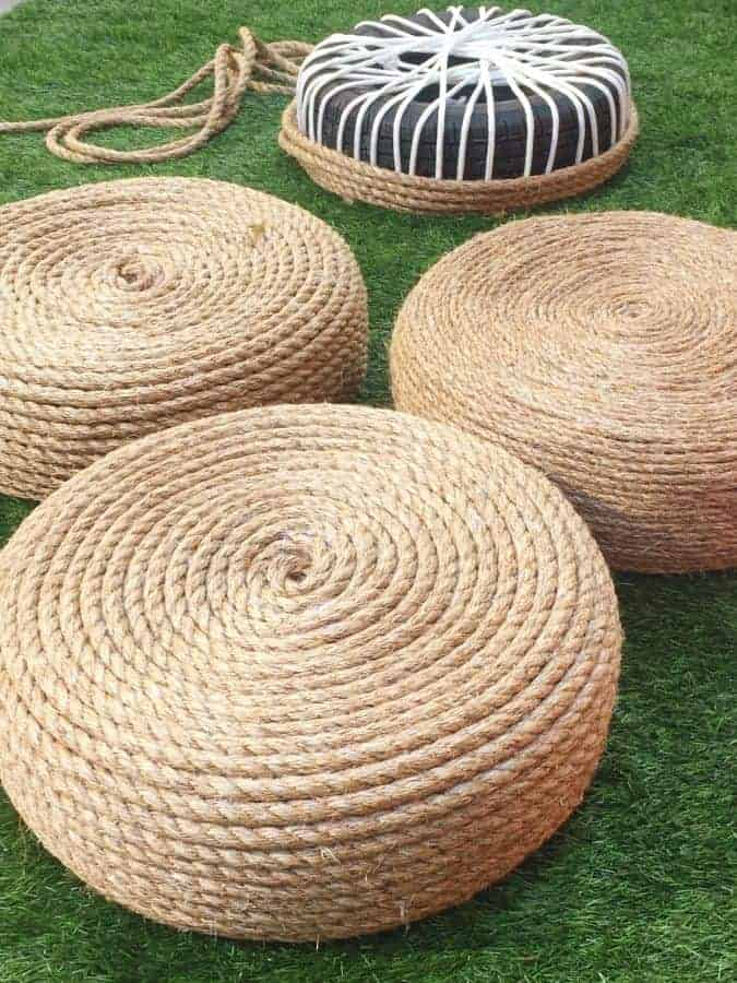 Diy Make A Rope Ottomans Chair With Old Tire 1001 Gardens