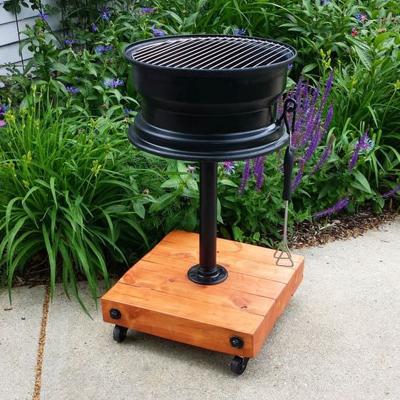 10 creative recycling diy grill bbq and fire pit projects for Easy diy fire pit with grill