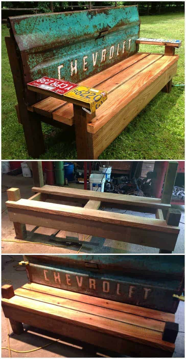 Diy Garden Bench With An Old Car Tailgate 1