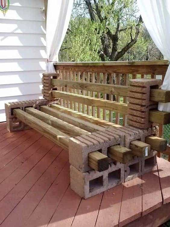 DIY balcony outdoor bench AD cinder block project. How to Make ... - How To Make A Cinder Block Bench: 10 Amazing Ideas To Inspire You!