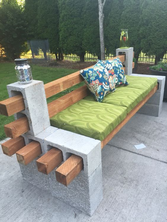 How to Make a Cinder Block Bench: 10 Amazing Ideas to Inspire You! - patio-outdoor-furniture