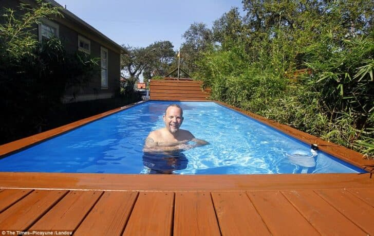 Architect Turns Dumpster into Family Swimming Pool