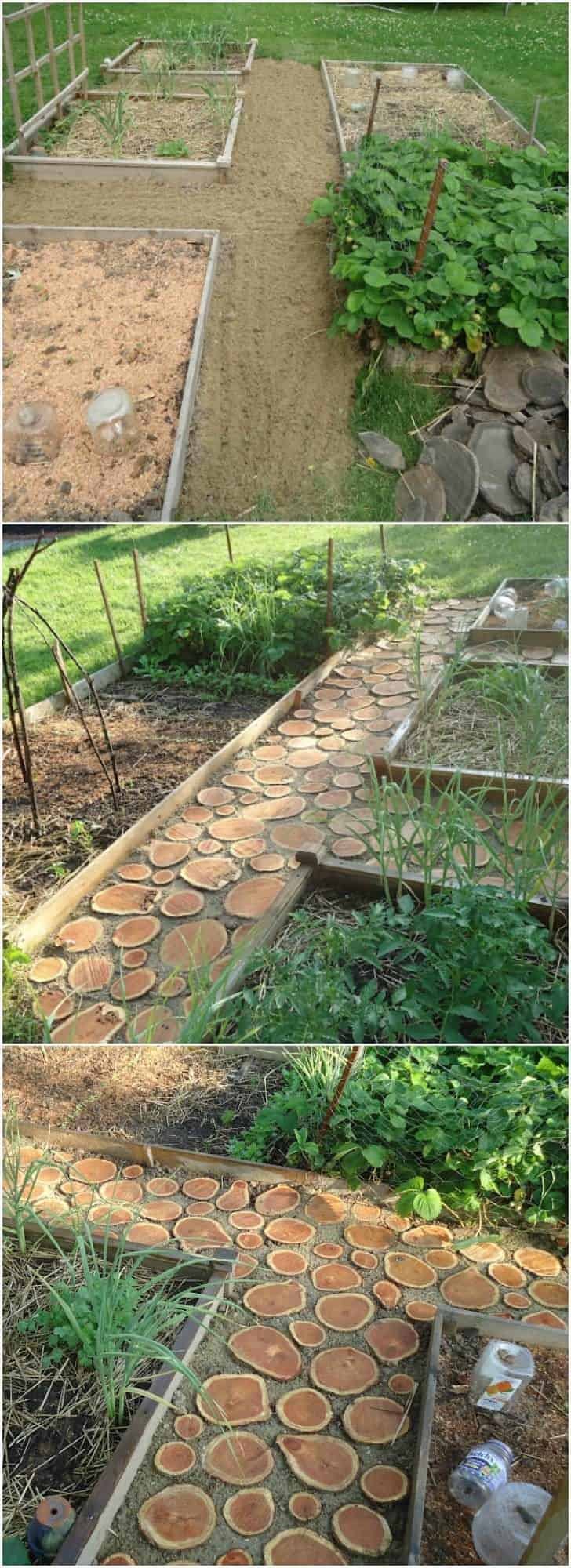 How to Make a Great Wood Logs Garden Pathway - garden-decor