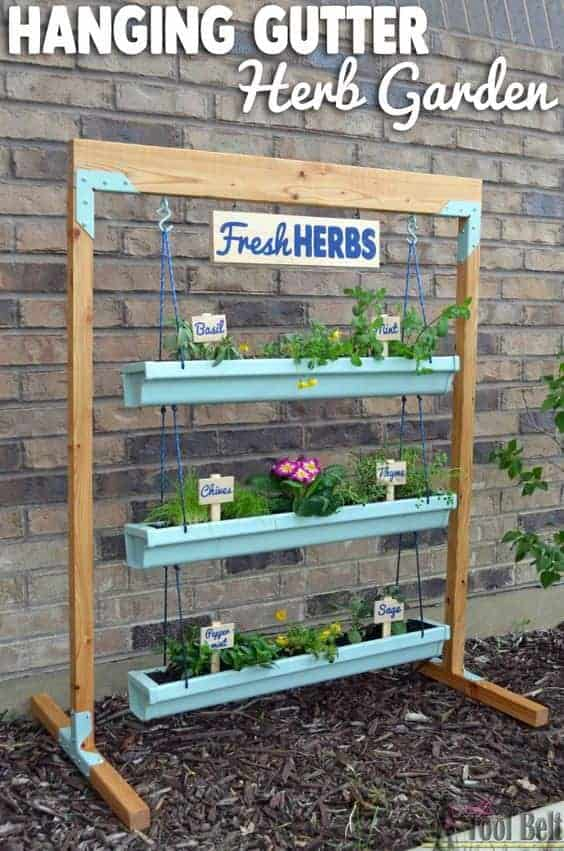 Hanging Garden Ideas diy garden pots 13 20 Easy Diy Gutter Garden Ideas