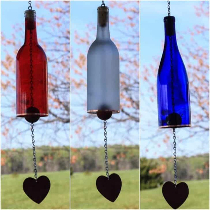 Colored Wine Bottle Wind Chime