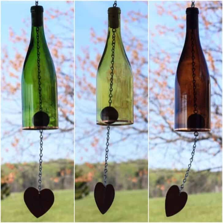 Colored Wine Bottle Wind Chime - garden-decor