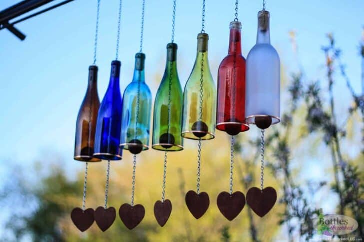 Colored Wine Bottle Wind Chime Garden Decor