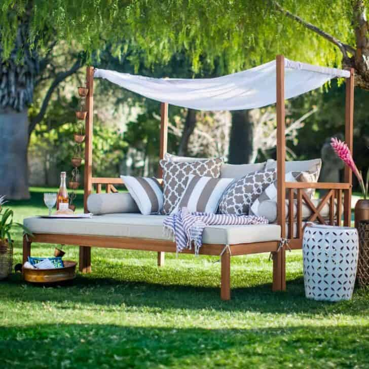 Outdoor Daybeds can be a beautiful place to relax, and don't have to require stock in sunblock cream companies. This daybed has a built-in shade awning!