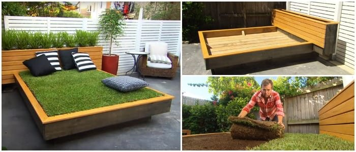 How to Make an Amazing Grass Daybed with Pallets - patio-outdoor-furniture