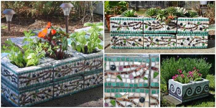 Mosaic Cinder Block Planter - flowers-plants-planters