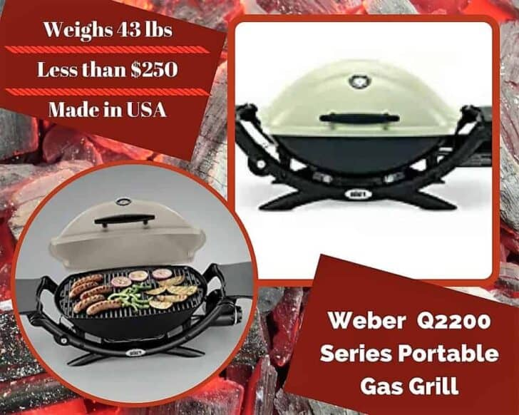 Our second model of our Top 6 Portable Gas Grills is the Weber Q2200. A little more surface area to cook on, but remains lightweight.