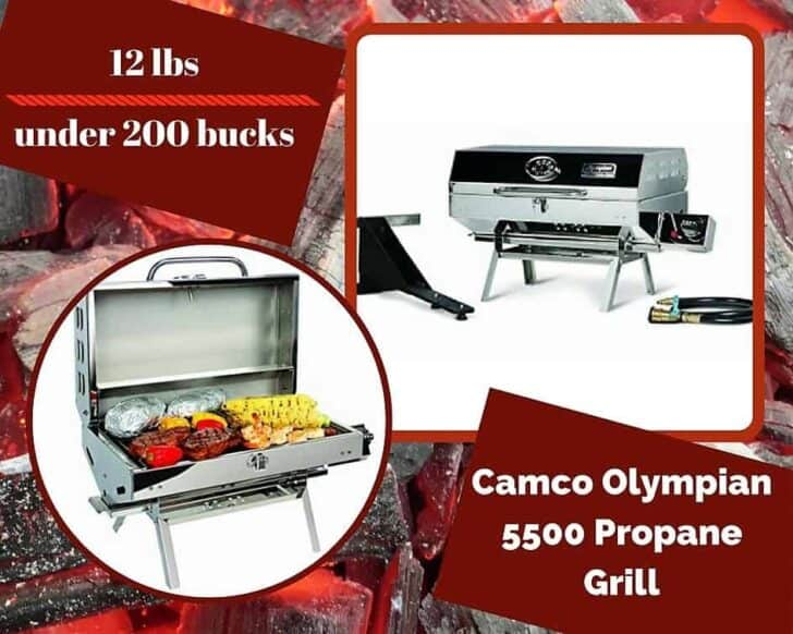 This Camco Olympian 5500 Propane Grill is one of the honorable mentions on our Top 6 Portable Gas Grills list.