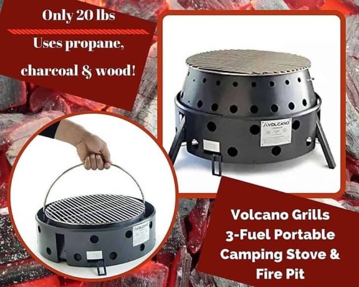 A flexible contender, this Volcano Grill can use propane, wood, or charcoal! It's a brilliant idea, and almost made the Top 6 Portable Gas Grills list.