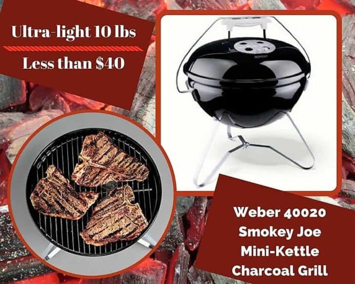 This little charcoal grill by Weber continues to be popular. Although not powered by propane, it still belongs on any Top 6 Portable Gas Grills as a contender.