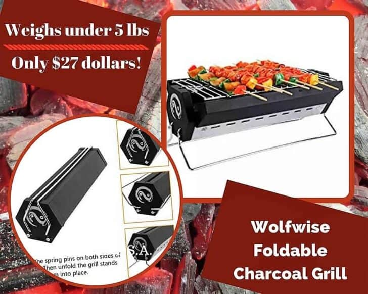 An honorable mention is the Wolfwise Foldable Charcoal Grill. Check out our other Top 6 Portaable Gas Grills.