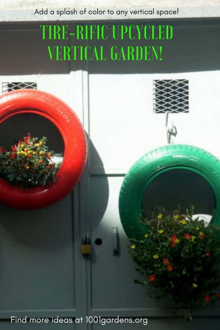 Upcycled Tire Hanging Garden Brightens Bland Walls! 1 - Flowers & Plants
