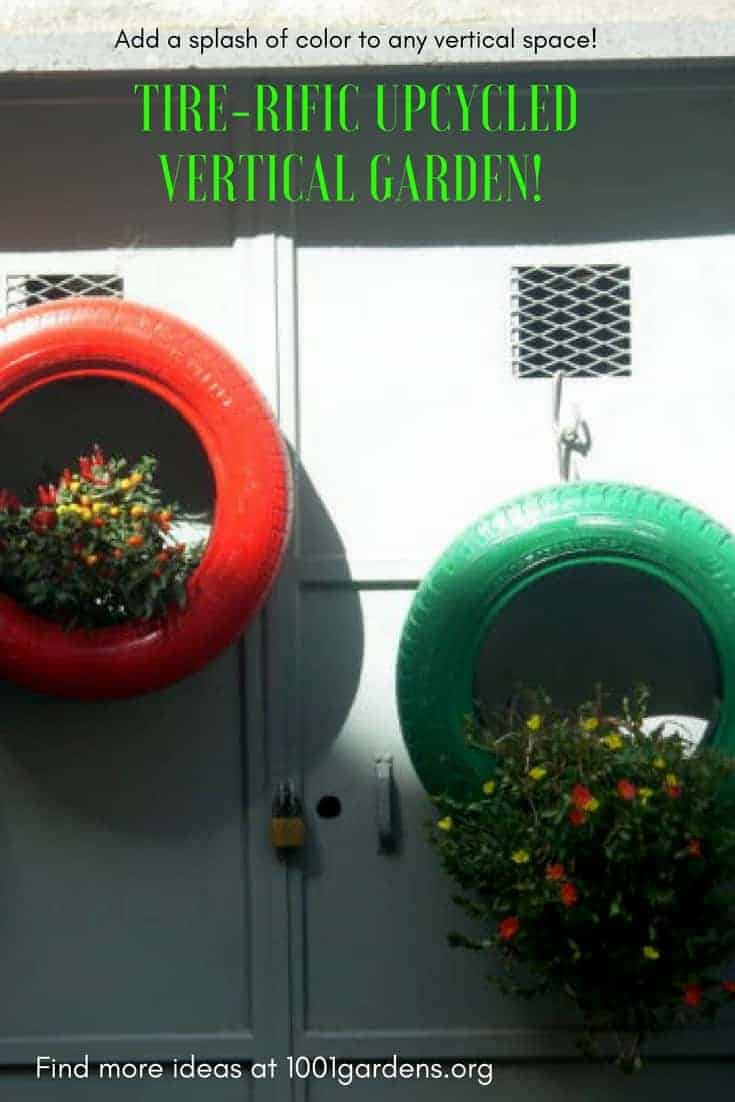 Upcycled Tire Hanging Garden Brightens Bland Walls!