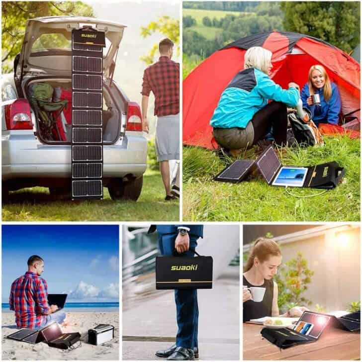 SUAOKI Solar Charger 60W Portable Solar Panel Foldable High Efficiency