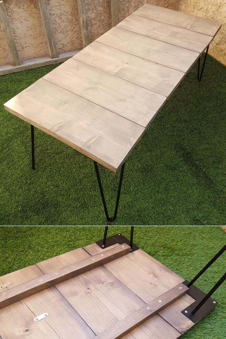Here is a tutorial to easily make an outdoor coffee table with wood and some simple tools, beginner DIYers, this DIY is for you! Here you go, your wooden outdoor coffee table is finished and ready to be installed in your garden! #table #diy #woodworking #garden #patio #outdoortable #coffeetable